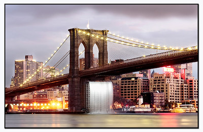 Brooklyn Bridge n Waterfall Manhattan NY